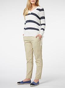 White Striped V Neck Jumper