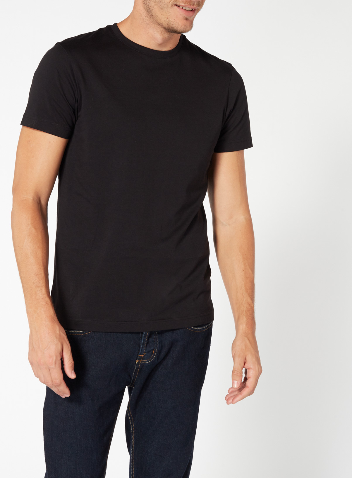 Black t shirt round neck - Black Crew Neck T Shirt