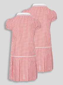 2 Pack Red Sporty Gingham School Dresses (3-12 years)