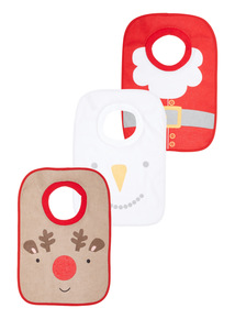 Multicoloured Three Pack Christmas Bibs (0-24 months)