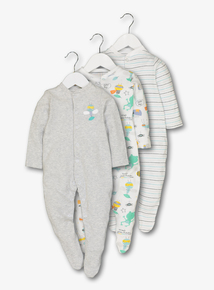 Grey Superbug Sleepsuits 3 Pack (Newborn - 24 months))