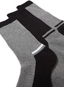 3 Pack Black and Grey Work Socks