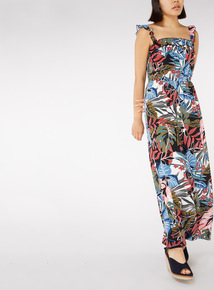 Floral Print Frill Shoulder Maxi Dress