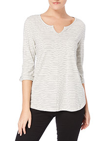 Grey Nautical Stripe Top