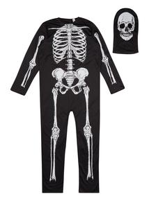 Adult Black Skeleton Dress Up Costume