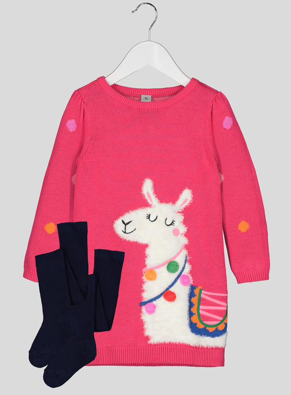 1343a0bdf3de Kids Pink Knitted Llama Dress And Tights Set (9 months-6 years) | Tu  clothing
