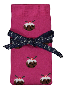 Christmas Pink Xmas Pud Slipper Socks