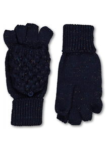 Navy Sparkle Fold-Over Mittens
