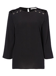 Eyelet Fluted Sleeve Top