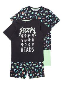 2 Pack Multicoloured Skull Pyjamas (4-14 years)
