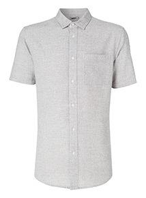 Grey Textured Slim Fit Shirt