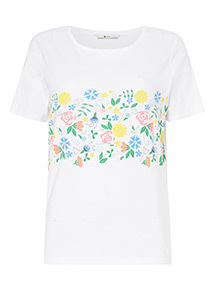 White Floral Graphic T-Shirt
