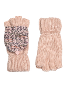 Pink Boucle Knit Flip Mitt Gloves