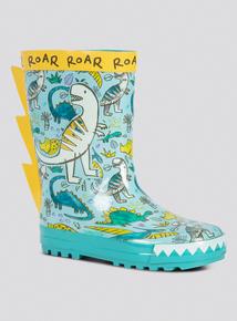 Multicoloured Dinosaur Welly Boots
