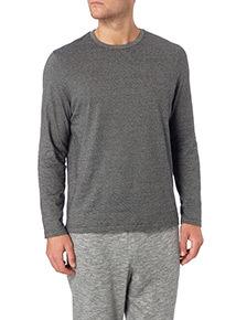 Grey Fine Stripe Long Sleeve Tee