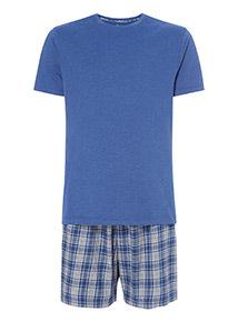 Blue Short Sleeve T-Shirt and Checked Shorts Pyjama Set