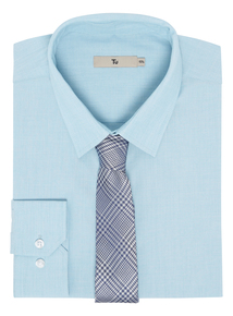 Turquoise Slim Fit Shirt With Tie