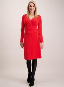 Red Wrap Velvet Dress