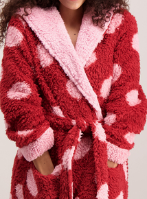 Red & Pink Giant Dot Fleece Dressing Gown