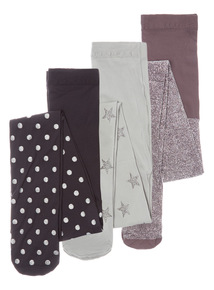 3 Pack Multicoloured Star Glitter Tights (2-12 years)