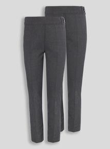 Girls Grey Longer Leg Trousers 2 Pack (3-12 years)