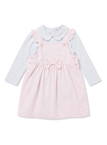 Pink and Grey Pinafore and Body Set (0-24 months)