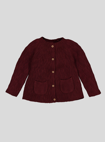 Berry Red Chunky Knit Cardigan (0-24 months)