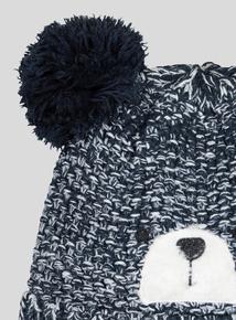 Navy Bear Pom-Pom Hat And Mittens Set (Newborn - 2 years)