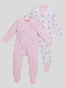 Pink Sleepy Mouse Long Sleeve Sleepsuits  2 Pack (Newborn-24 months)