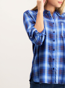 Blue Check Roll Sleeve Shirt