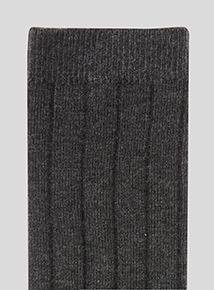 Grey Ribbed Socks 5 Pack (6 infant-6.5 adult)