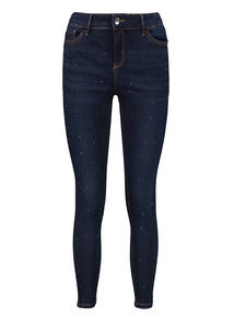 Dark Blue Denim Skinny Diamonte Jeans