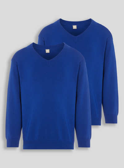 Blue V-Neck Jumpers 2 Pack (3-12 years)
