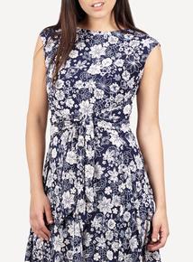 IZABEL Beige Floral Tie Front Dress