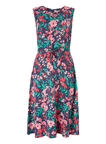 Online Exclusive Multicoloured Floral Print Midi Dress