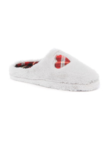 Faux Fur Check Heart Mule Slipper