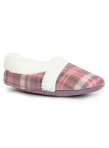 Pink Check Faux Fur Collar Slippers