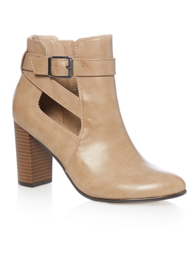 Stone High Heeled Open Side Ankle Boots
