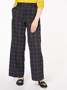 Navy Checked Print Wide Leg Trousers