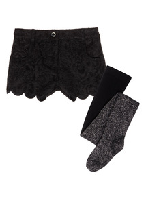 Girls Black Party Shorts and Tights (3-12 years)