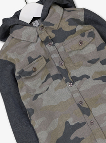 Khaki Camouflage Hooded Shirt (3-14 years)