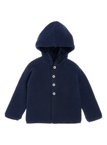 Blue Hooded Textured Cardigan (0-24 months)