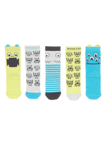 Lime Monster Socks 5 Pack (3 - 12 years)