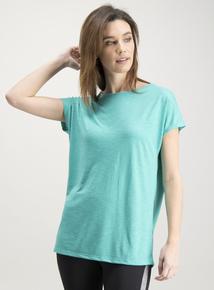 Active Turquoise Slub Cap Sleeve T-Shirt