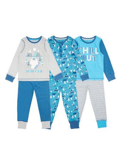 Blue Three Pack Snow Cool Yeti Pyjama Sets (2-10 years)