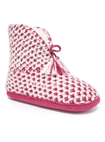 Notch Front Knitted Slipper Boot
