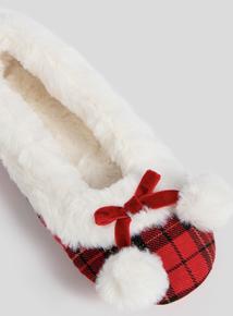 Christmas Mrs Claus Red Tartan Ballerina Slippers
