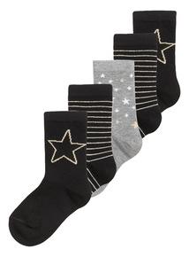5 Pack Glitter Socks