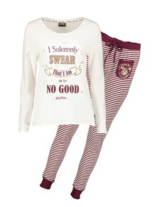 Cream & Burgundy Harry Potter Logo Pyjamas