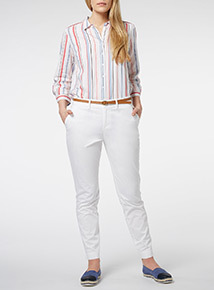White Coastal Belted Chino Trousers